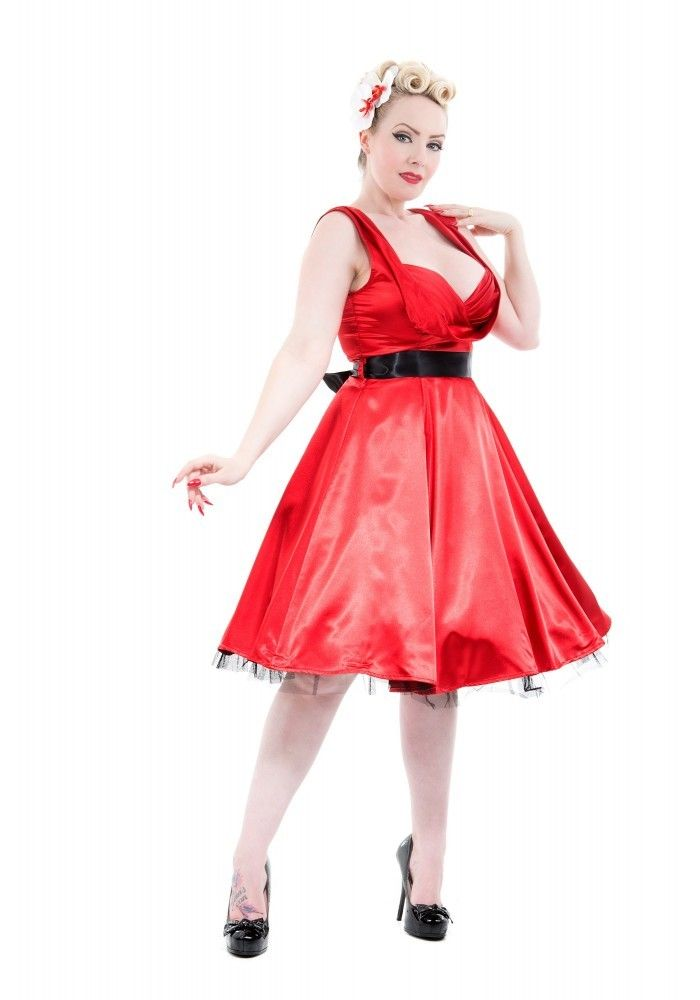 H r red dress 50s style