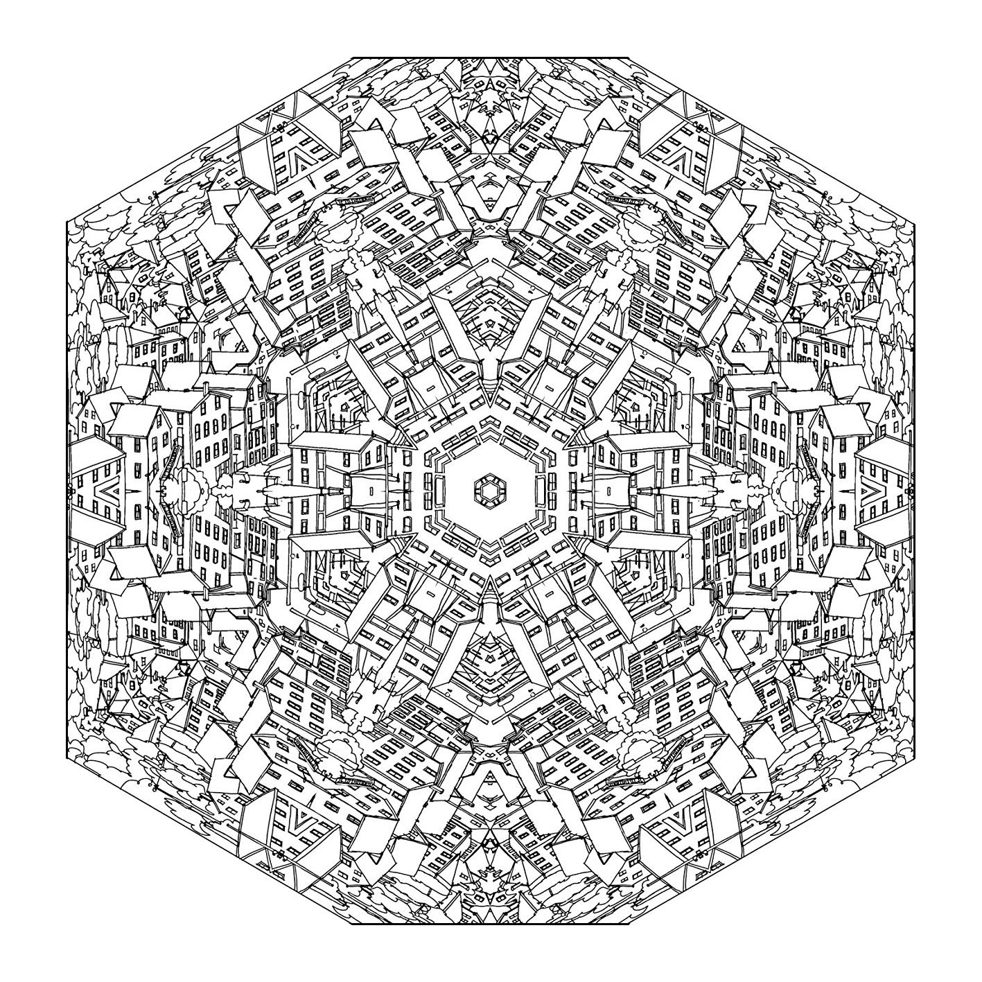 Mandalas Coloring Pages For Adults Fantastic Cities Coloring Book Mandala Coloring Pages Coloring Pages