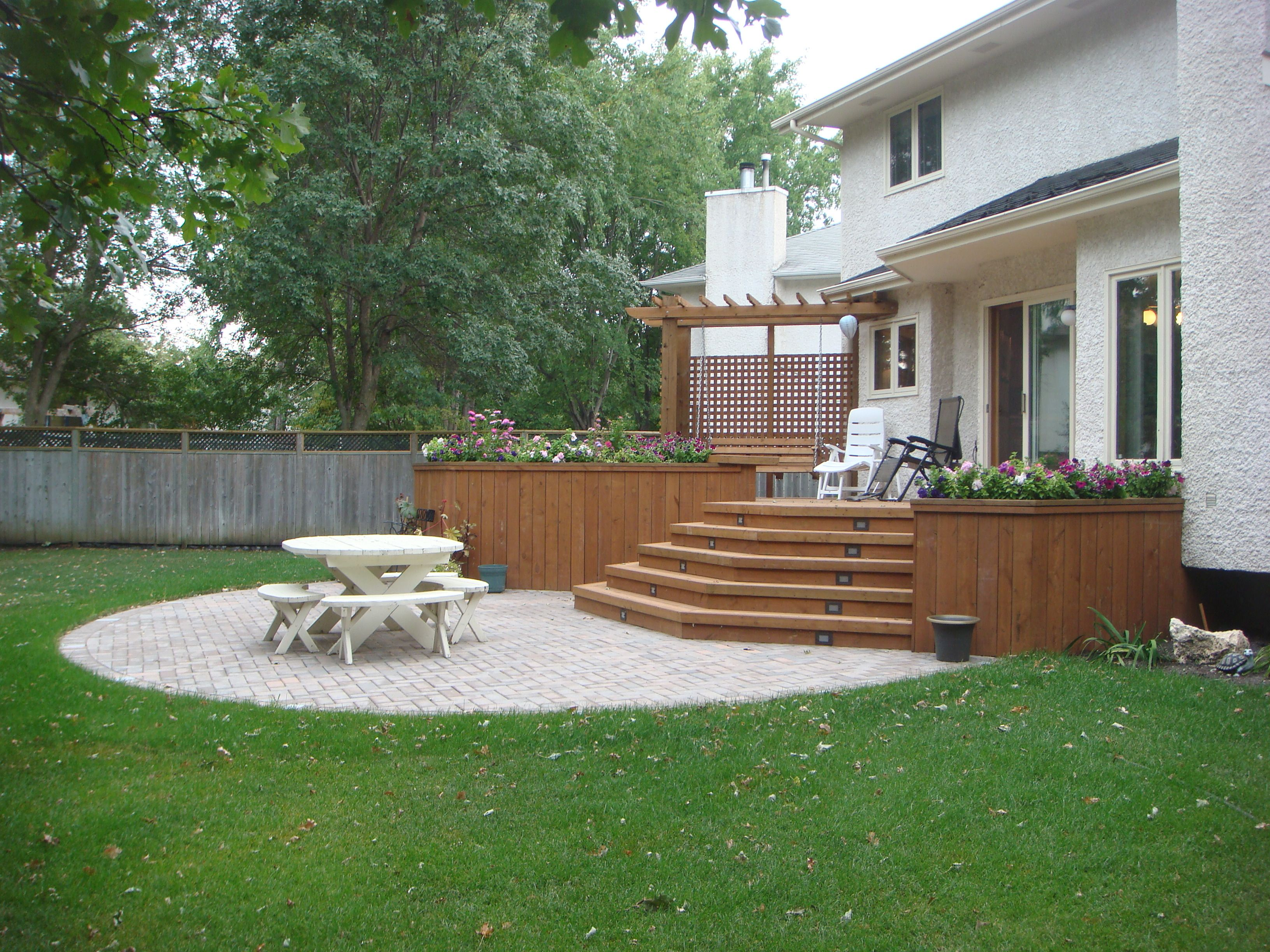 Patio | ... Built In Swing And Planters. Patio With Autumn Brown