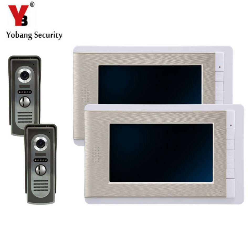 Yobangsecurity 7 Inch Color Lcd Villa Video Door Phone Doorbell Intercom Entry System Kit 2 Monitor 2 Camer Video Door Phone Intercom Security Cameras For Home