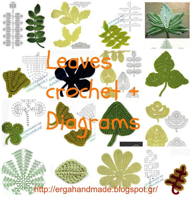 Leaves crochet + Diagrams + Video #irishcrochetflowers