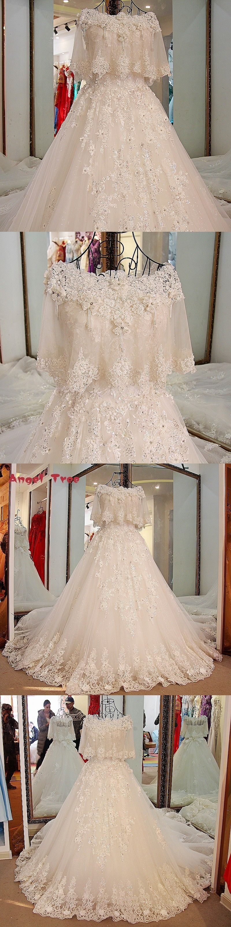 Angel tree modest bridal wedding dress lace ball gown corst dress
