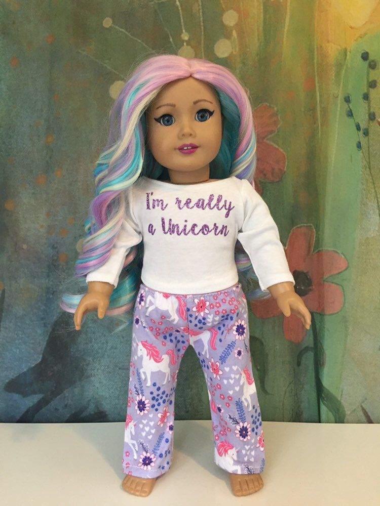 "Magic Unicorn Purple Pant Set Fits 18/"" American Girl Doll Clothes"