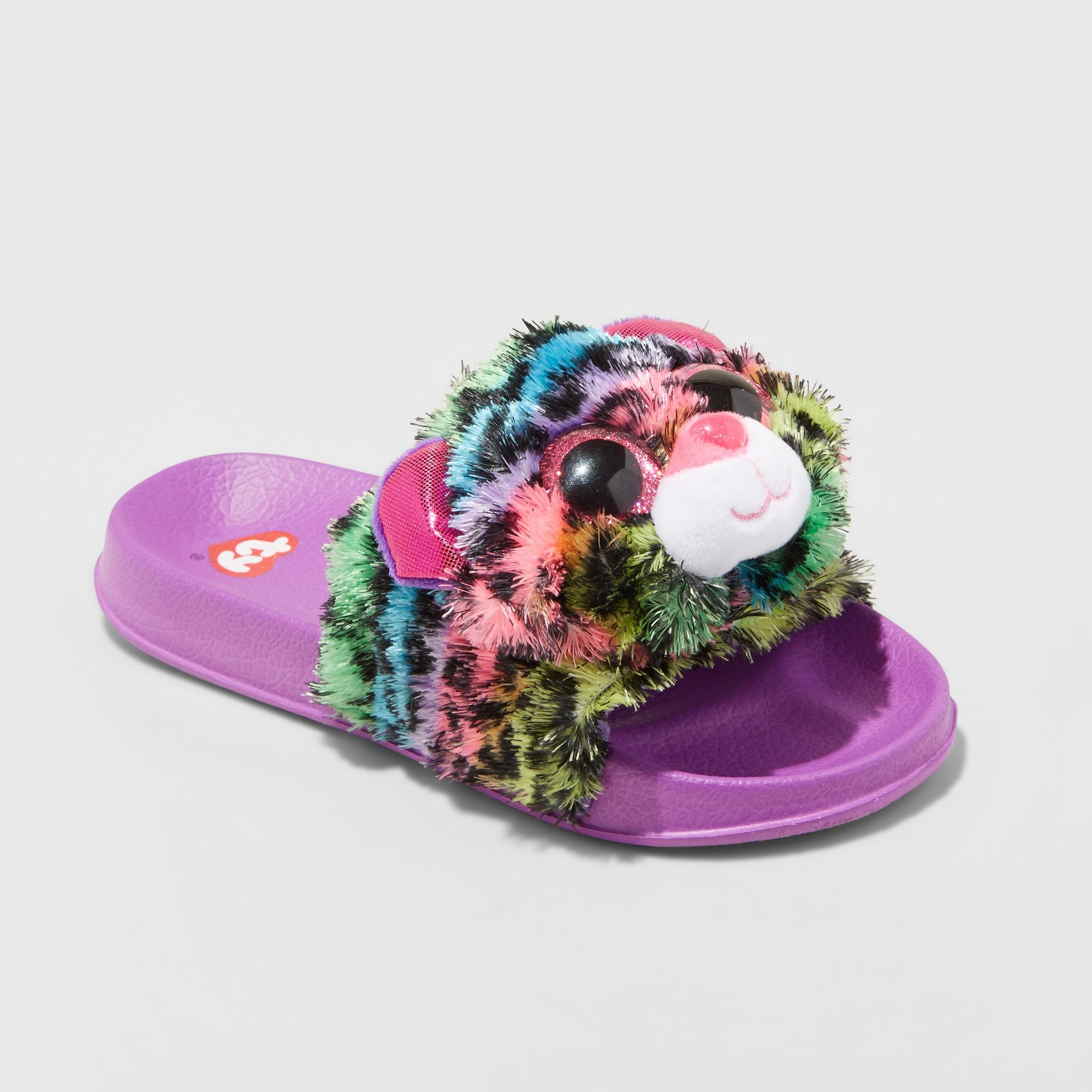 Girls  Dotty Beanie BoosPool Slided Slippers - Purple XS Ty Beanie Boos 3f0cda177b47