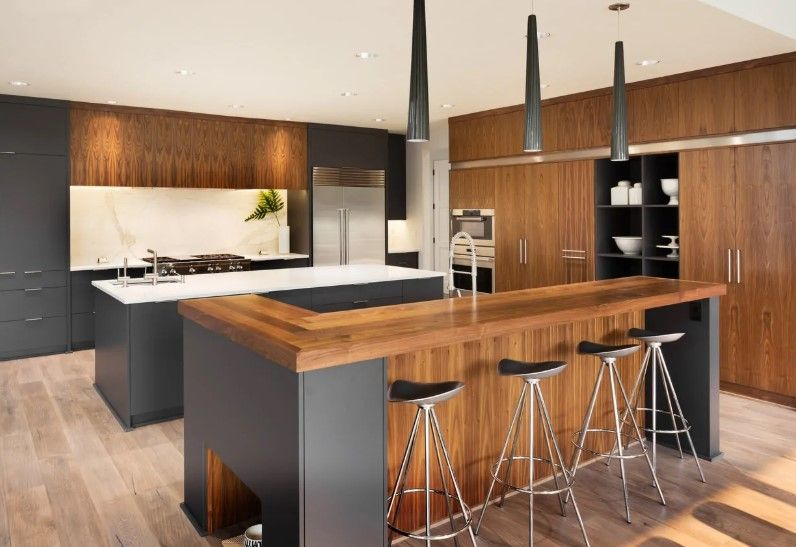 Natural Wood With Dark Gray Plus 2 Islands Top 10 Modern