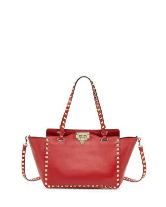 Rockstud Mini Tote Bag, Red by Valentino at Neiman Marcus.   fashion ... ef6e31cb9b