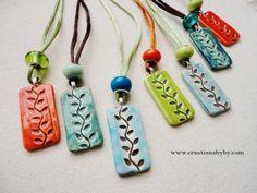 Colorful ceramic necklace leaf branch spring summer feel colorful ceramic necklace leaf branch spring summer feel rectangular pendants pottery aloadofball Images