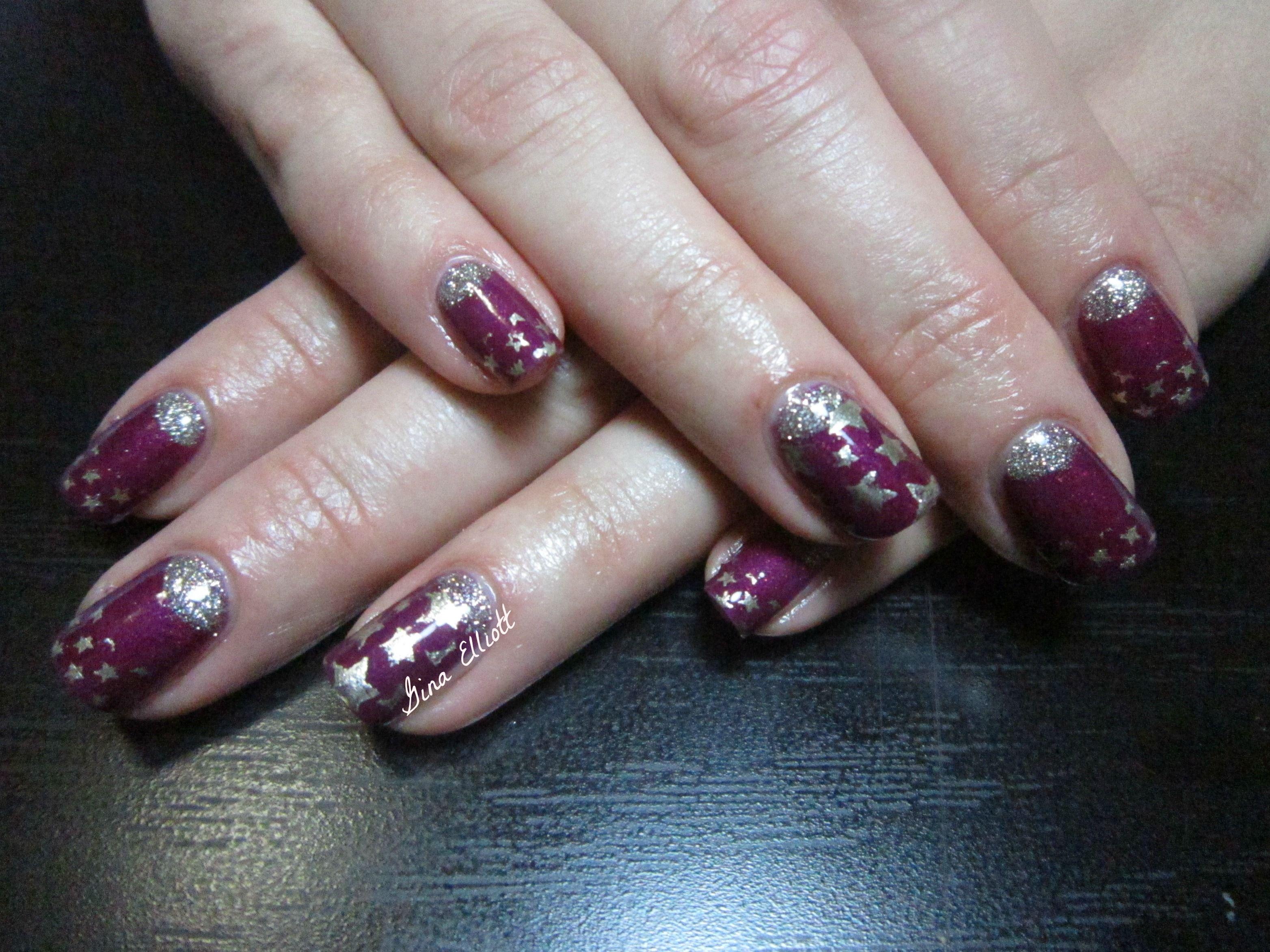 www.facebook.com/beurbanangel purple & gold, gel polish, stars, half moon, party nails