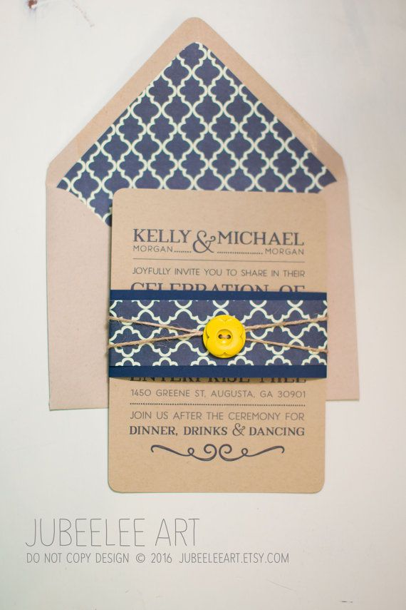 navy, yellow and craft paper rustic wedding invitation with envelope ...