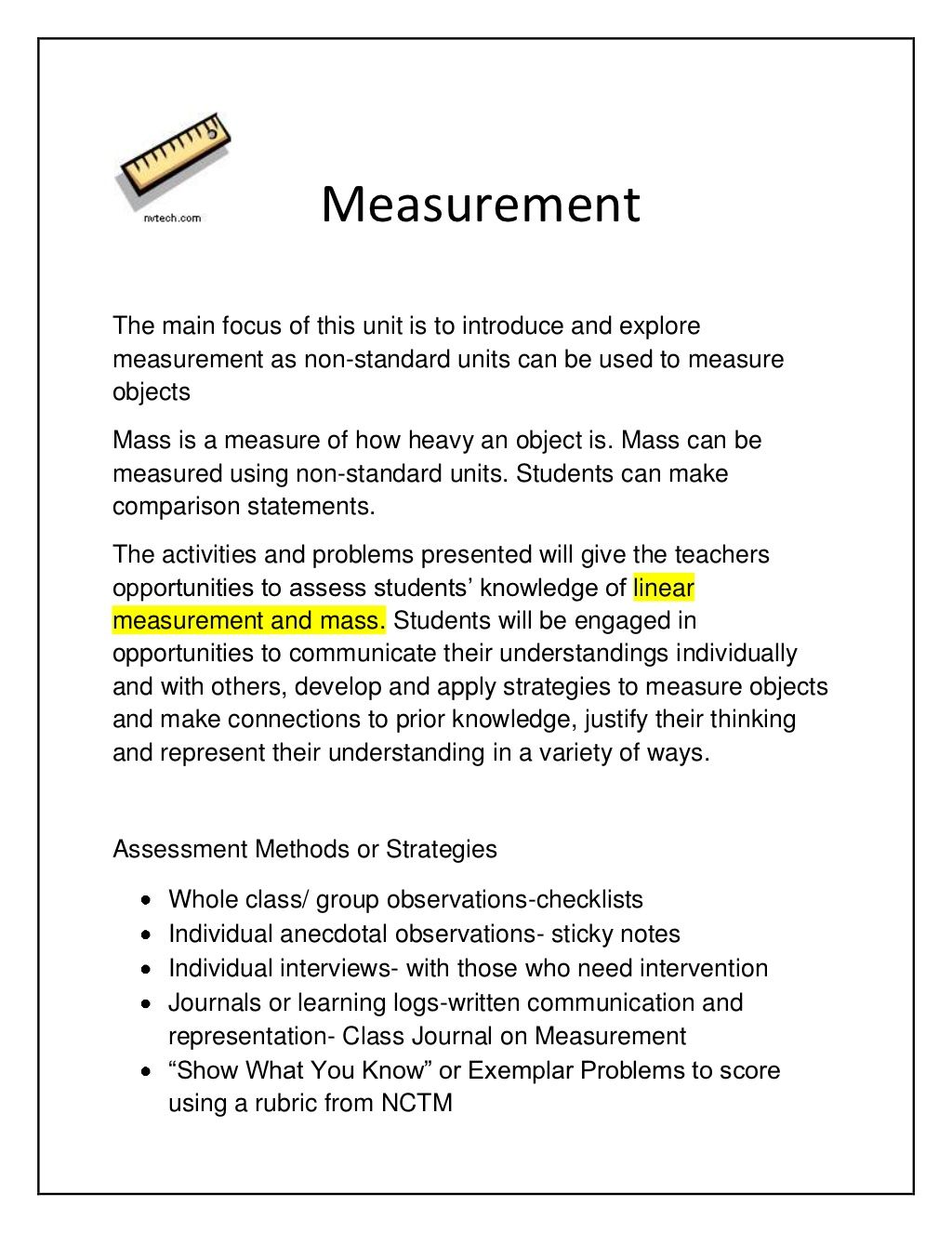 Linear Measurement Lessons By Susan Muir Via Slideshare
