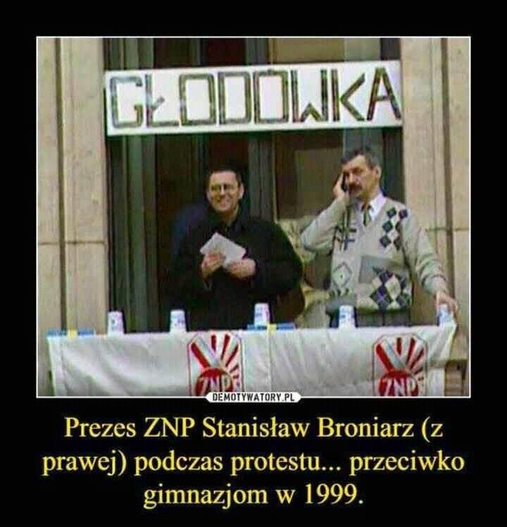 """Piotr Lis na Twitterze: """"Ku Pamięci! Protest głodowy Broniarza... Przeciwko utworzeniu gimnazjów. https://t.co/dIXBrmAlUS"""""""
