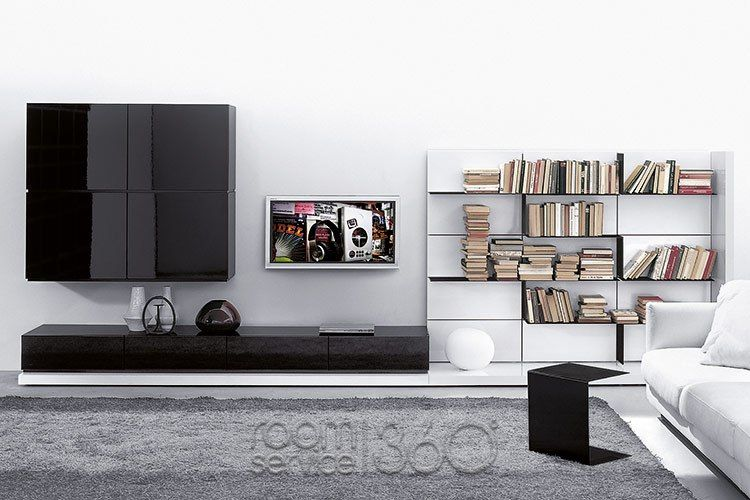 People Elle 116 Contemporary Wall Unit in glossy nero and bianco lacquer