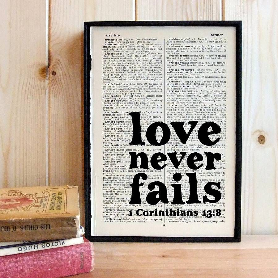 Love Never Fails Quote Love Never Fails' Wedding Quote Print  Printing