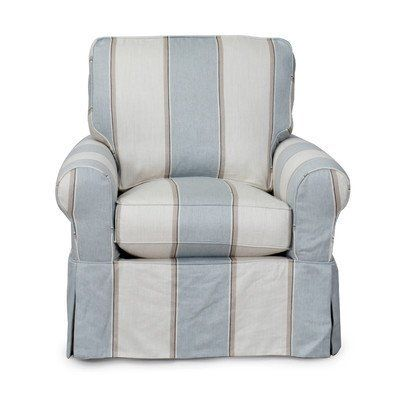 Best Blue And White Striped Slipcovered Club Chair Slipcovers 400 x 300