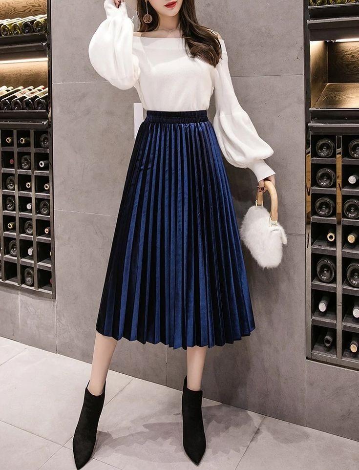 New Navy Blue Pleated Metallic Velvet Women Midi Skirt Autumn Winter Office Work Today Pin Moda Faldas Moda Con Faldas Largas Ropa Mujer Elegante