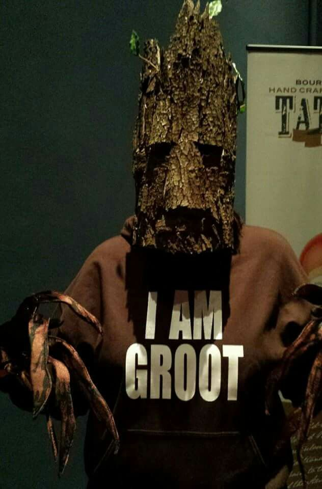 Groot costume. Homemade mask made from real bark.