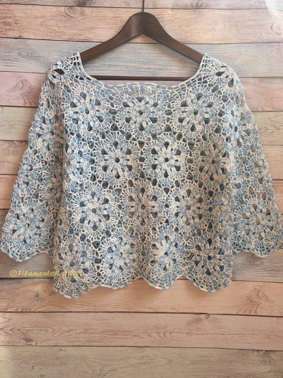 Crochet Sweater PATTERN Lace BLOUSE women / light Blue Melange / 34 sleeve off shoulder Blouse Crochet TUTORIAL pdf