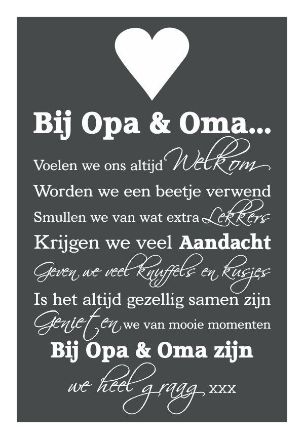 Populair Knuf en Zo :: Tekstborden :: Tekstbord Bij Opa & Oma | thema #EJ51