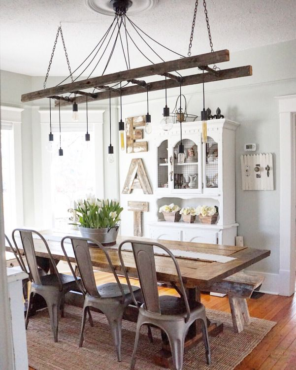 B Vintage Ladder Light Farmhouse Dining Rooms Decor Modern