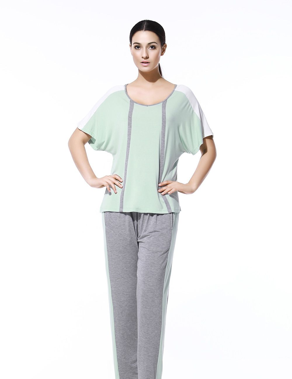 Aliexpress.com   Buy Women sleepwear sets 95% Modal 5% spendex 2 kinds of  colour big V neck women pajamas sets and loungewear 20130781 from. ffb673b37