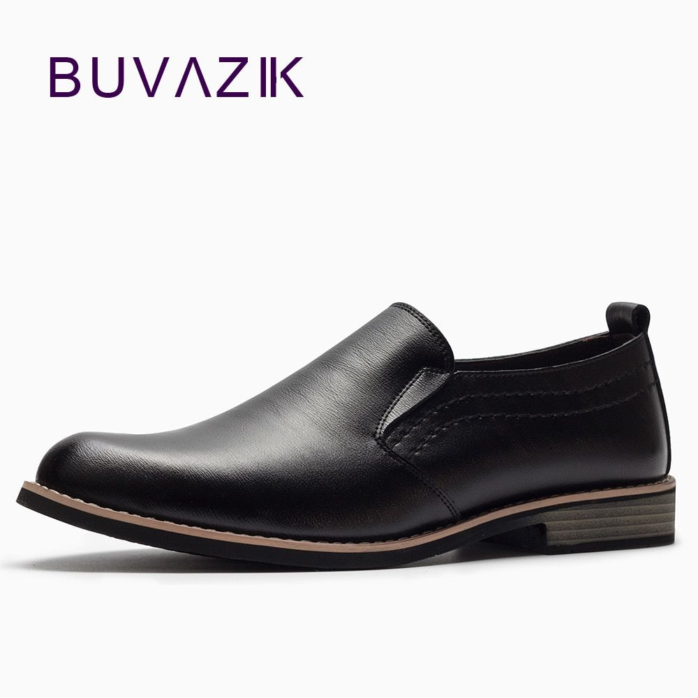 Wedding dress with black shoes  BUVAZIK Luxury Brand Leather Concise Men Business Dress Pointy Black