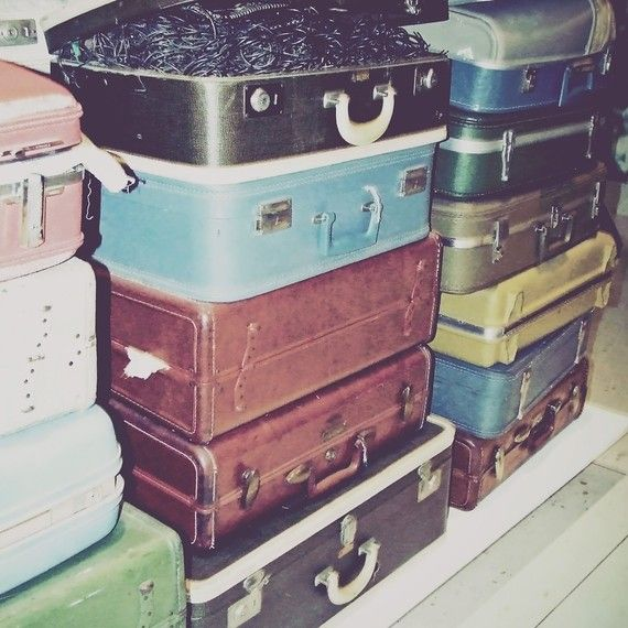 Vintage Suitcases   Retro Multicolor Suitcases by JessaMaePhoto, $12.00    ---I love vintage suitcases, they have so much history.  Plus, they often look cooler than newer ones.