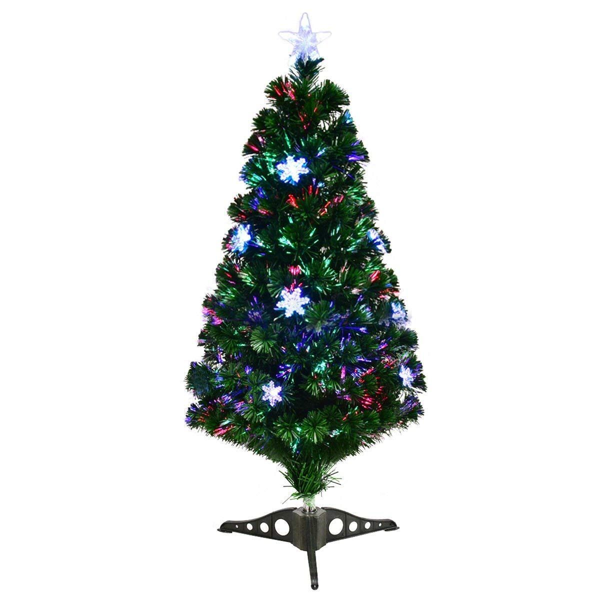 Goplus 3ft Prelit Fiber Optic Artificial Christmas Tree With Multicolor Led Lights And Snowfl Christmas Tree Fiber Optic Christmas Tree Colorful Christmas Tree