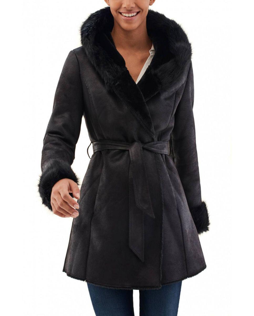 Abrigo de mujer Salsa cruzado con detalles de pelo  c48db93215cb