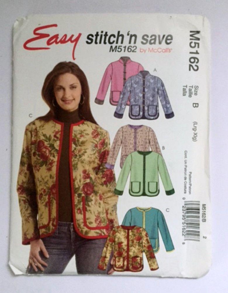 McCalls M5162 Easy Bolero Jacket Womens Large Extra Large Sewing ...