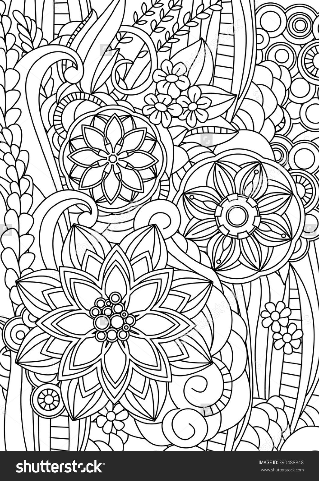 magic garden floral coloring page for relaxation