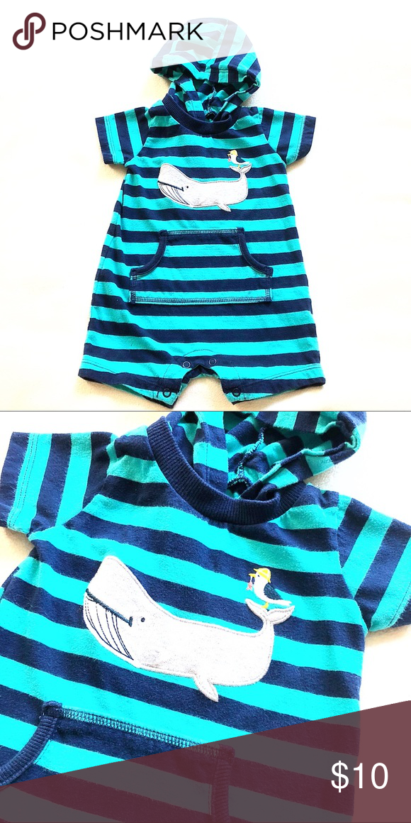 011020312 6m 🐋 Carters Boys Onesie Shorts Hoodie Blue Adorable Carters one ...