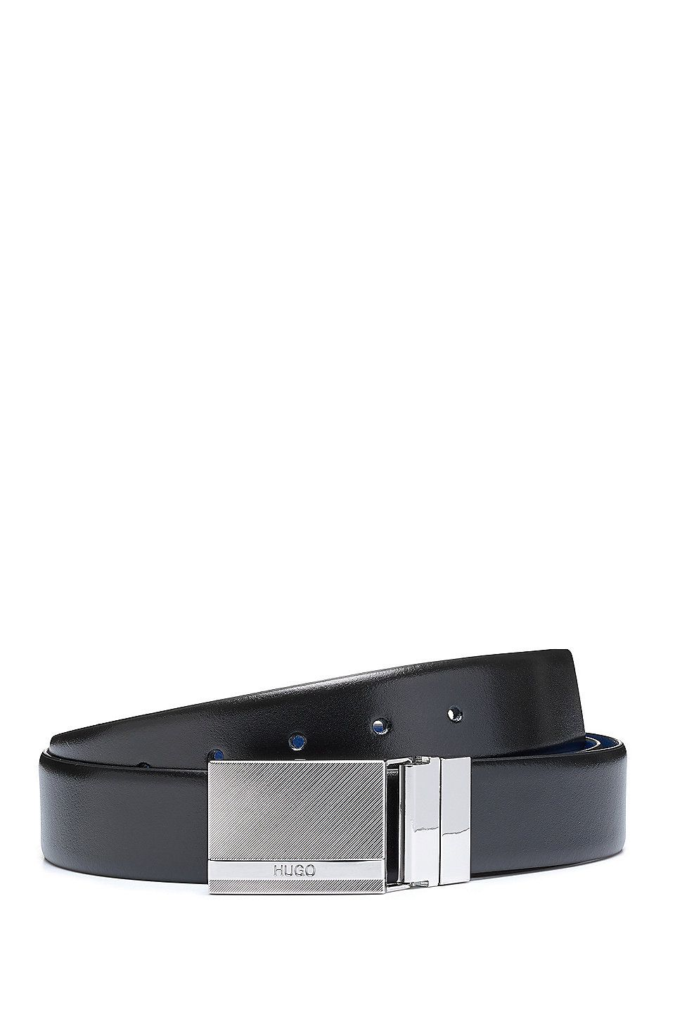 1792e9a71e35 HUGO BOSS Gift-boxed double-buckle belt in mixed leathers - Black Business  Belts