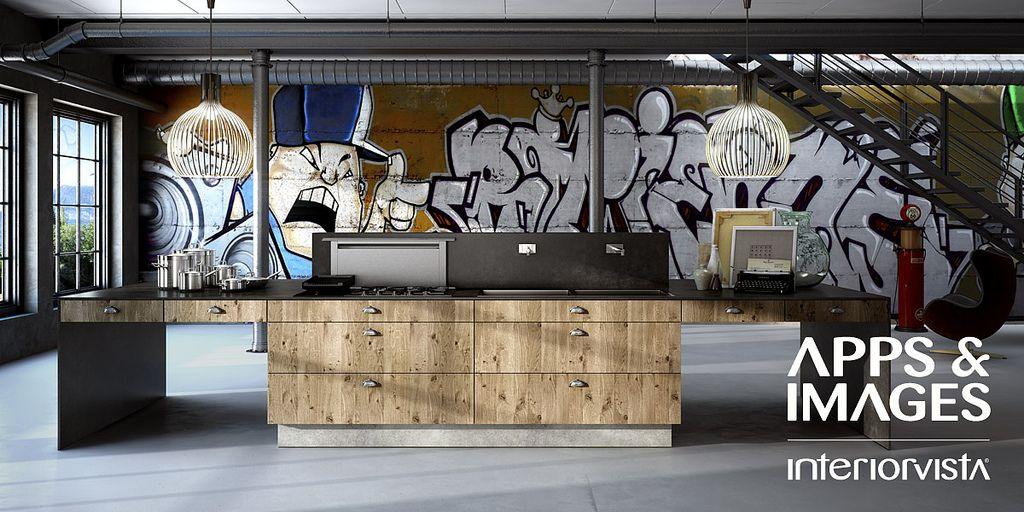 New Age Contemporary Kitchen In Unique Design Amazing Graffiti Interior