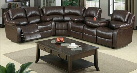 3 Pc Jerome Collection Brown Bonded Leather Upholstered