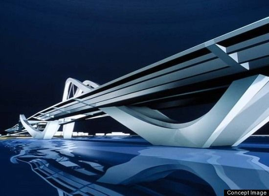 Abu Dhabi Bridge, also known as the Sheikh Zayed Bridge, was designed by architect Zaha Hadid as part of a plan to connect Abu Dhabi with the rest of the UAE. The undulating structure is designed to look like a wave crossing the canal.