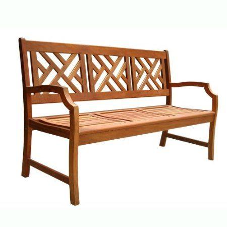 Amazon Com Vifah V188 Outdoor Wood Bench Natural Wood