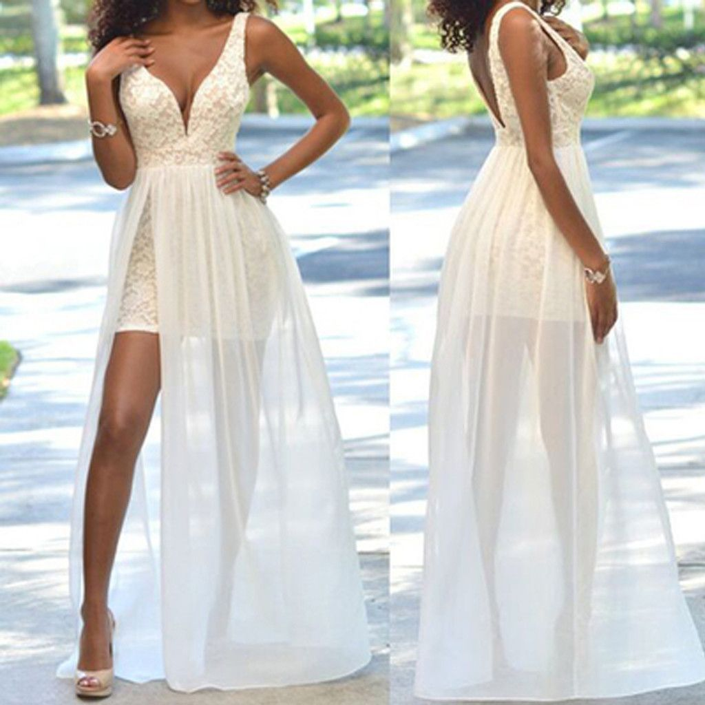 Cheap popular simple ivory lace side slit chiffon wedding party
