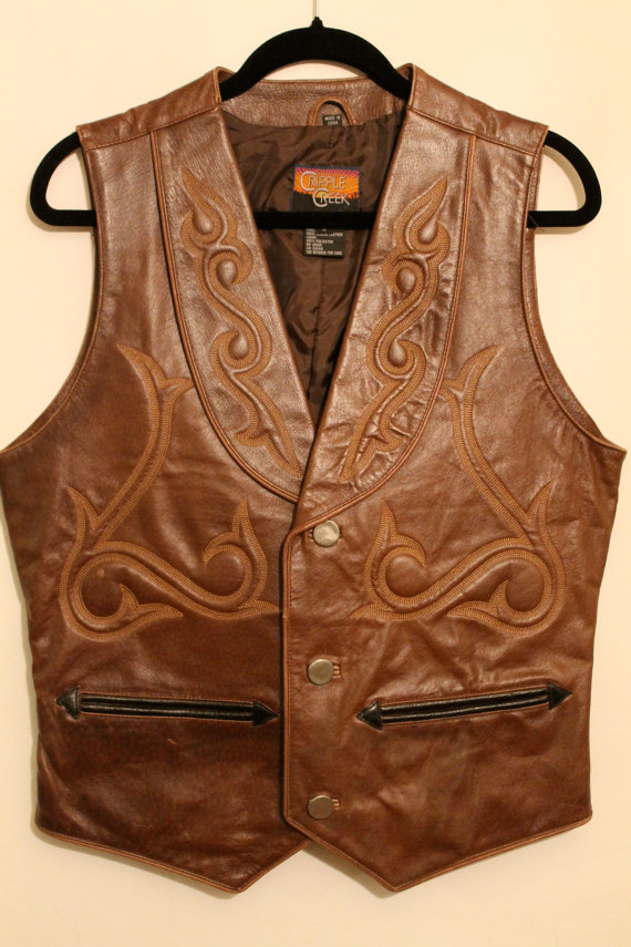 06a139d4434 Steampunk Brown Leather Western Vest by NeedlesnPinsVintage on Etsy ...
