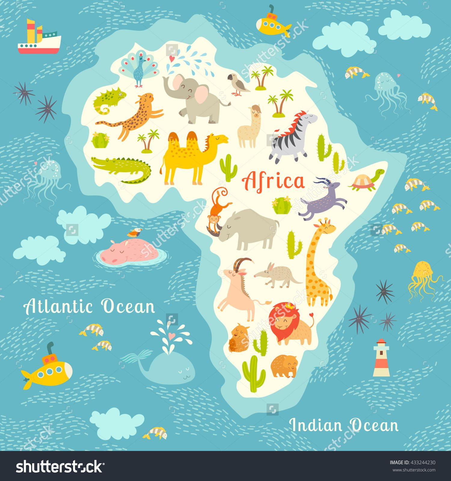 Animals World Map Africa Beautiful Colorful Illustration For