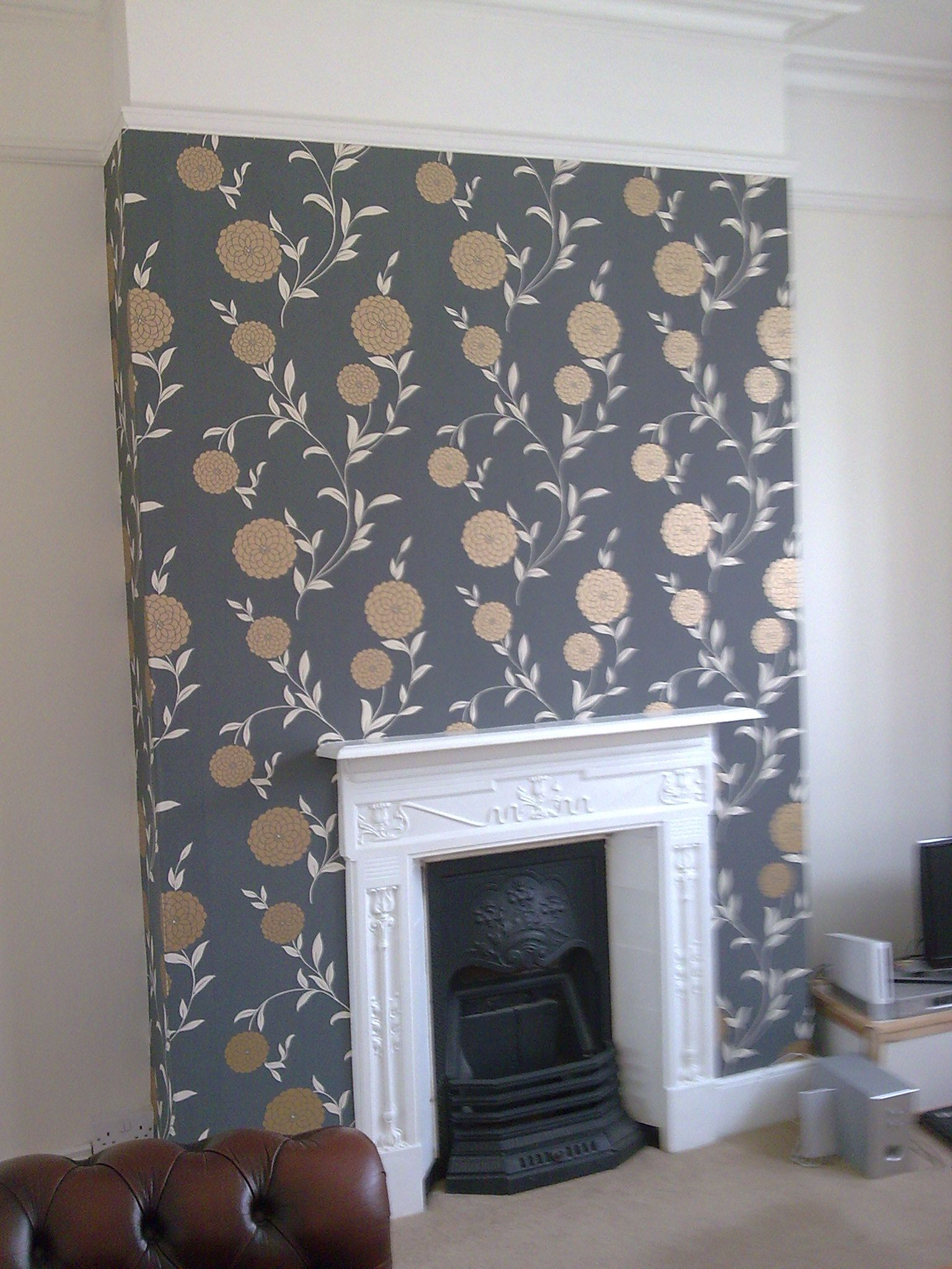 Stunning feature chimney breast features service - Feature wall ideas living room wallpaper ...