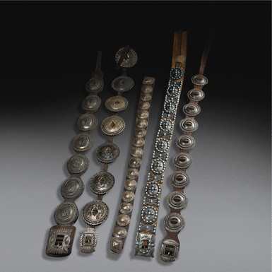 Group of Five Navajo Silver Concho Belts, One With Turquoise Inlay