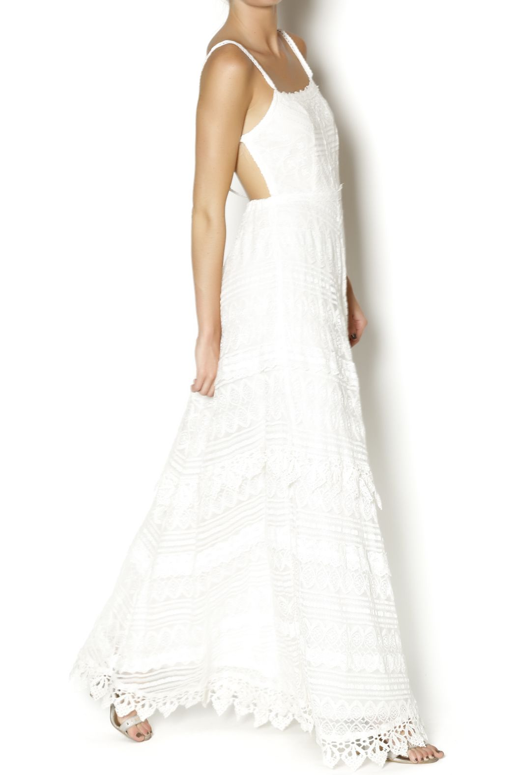 White embroidered maxi dress with an exposed back