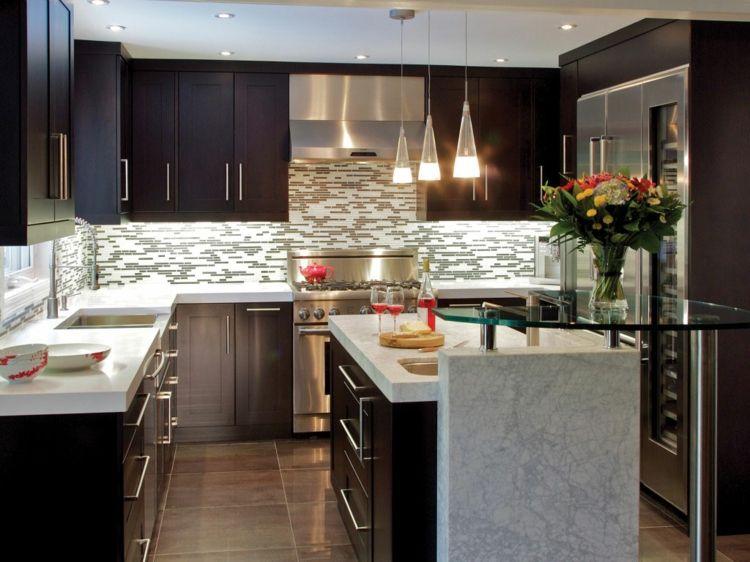 Cocina Con Muebles Negros Cocinas Integrales Pequenas Decoracion De Cocina Moderna Cocinas Modernas Grandes