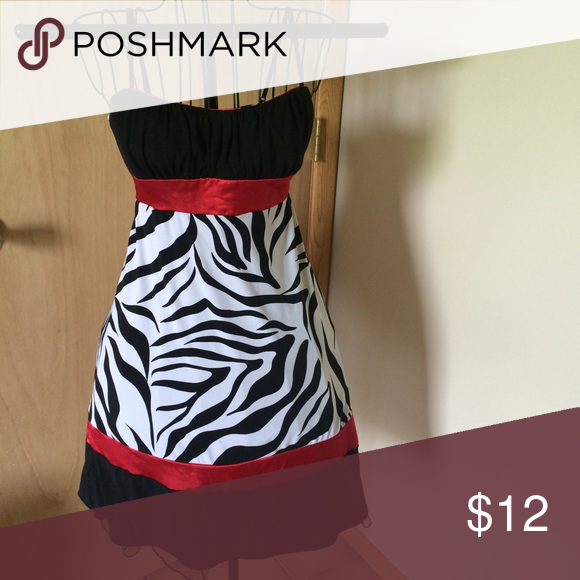 Silky Zebra Dress Spagetti straps, very comfy, super cute, great condition! Open to offers Trixxi Dresses