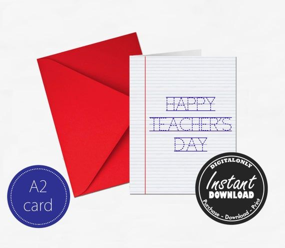 TEACHERS DAY CARD - Instant Download - Gift for Teacher - Happy Teacher's Day - Thank you Teacher gift - Teacher Appreciation Gift #teachersdaycard