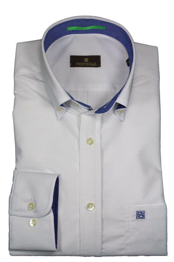 Camisa Pertegaz Blanca Con Bolsillo Y Botón En El Cuello Detalle En Interior De Puños Y Cuello Contraste Con Camisa Blanca Manga Larga Camisas Camisas Hombre