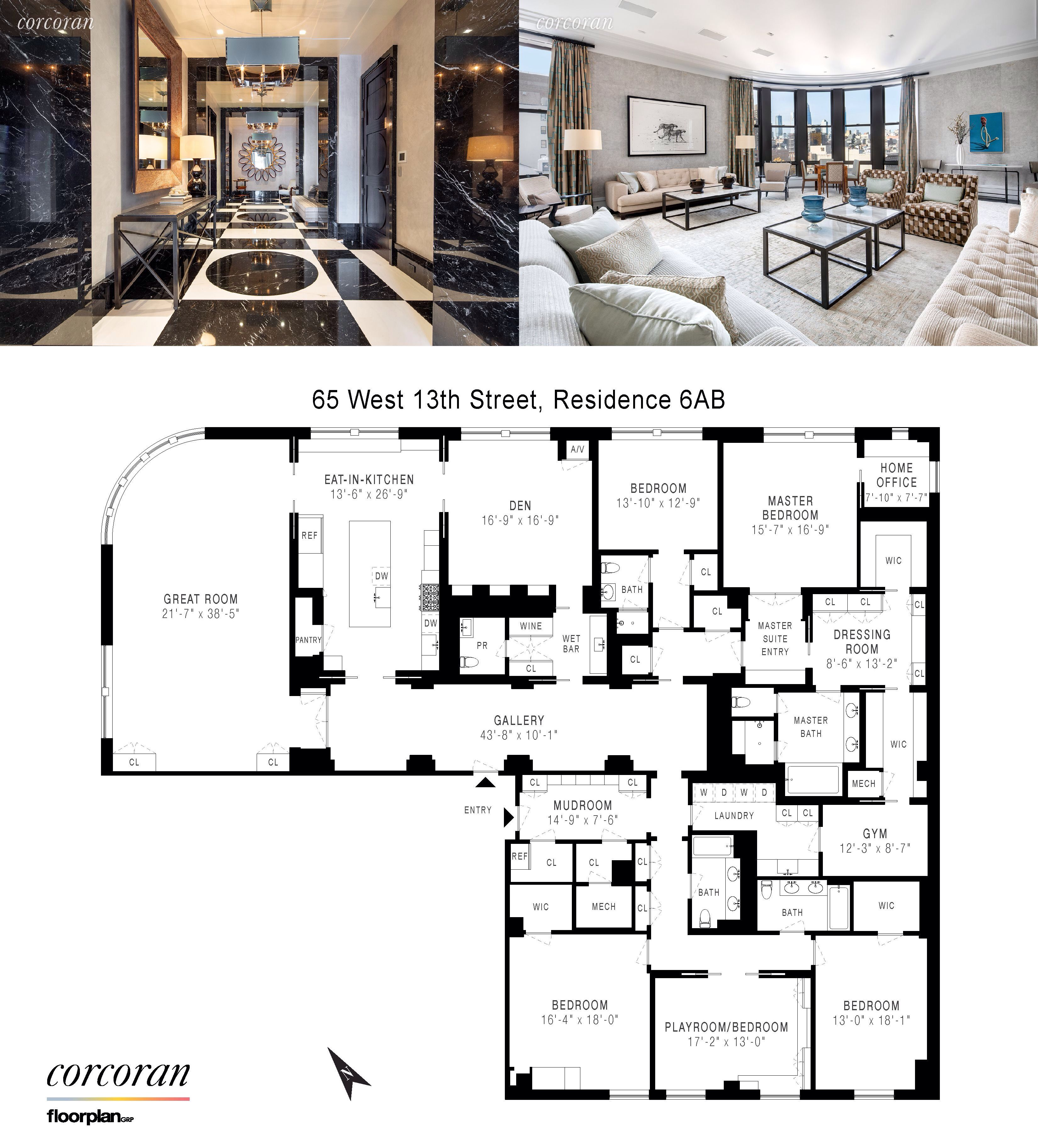 65 West 13th Street Apt 6ab Between Fifth Avenue And Sixth Avenue Condo Greenwich Village Condo Floor Plans Apartment Floor Plans Mansion Plans