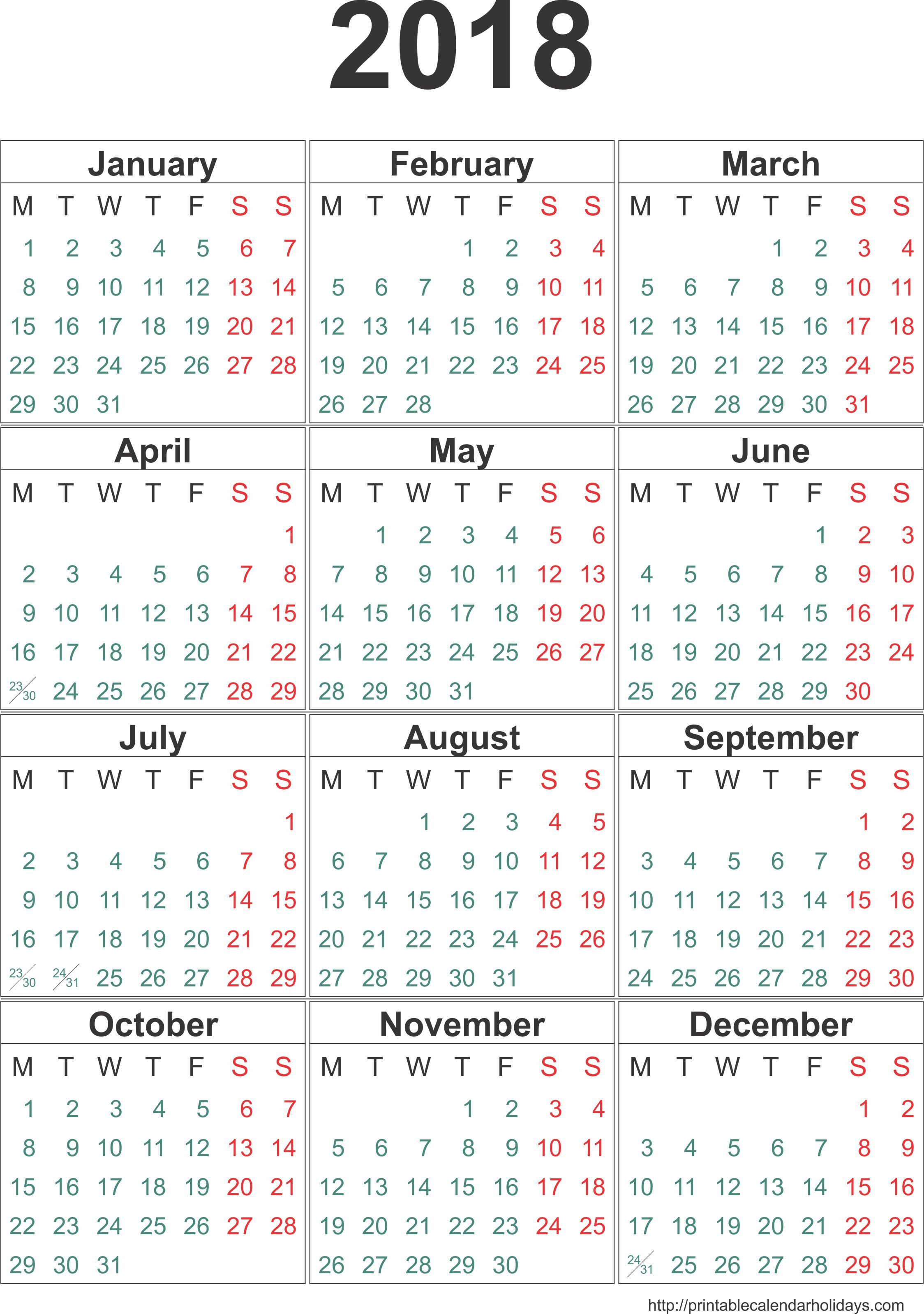 Yearly Calendar 2018 2017 Template