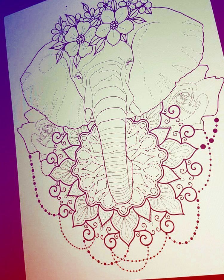 Elephant Represent Good Luck Happiness And Wisdom With Roses As Crown Elephant Tattoo Design Elephant Tattoos Mandala Elephant Tattoo