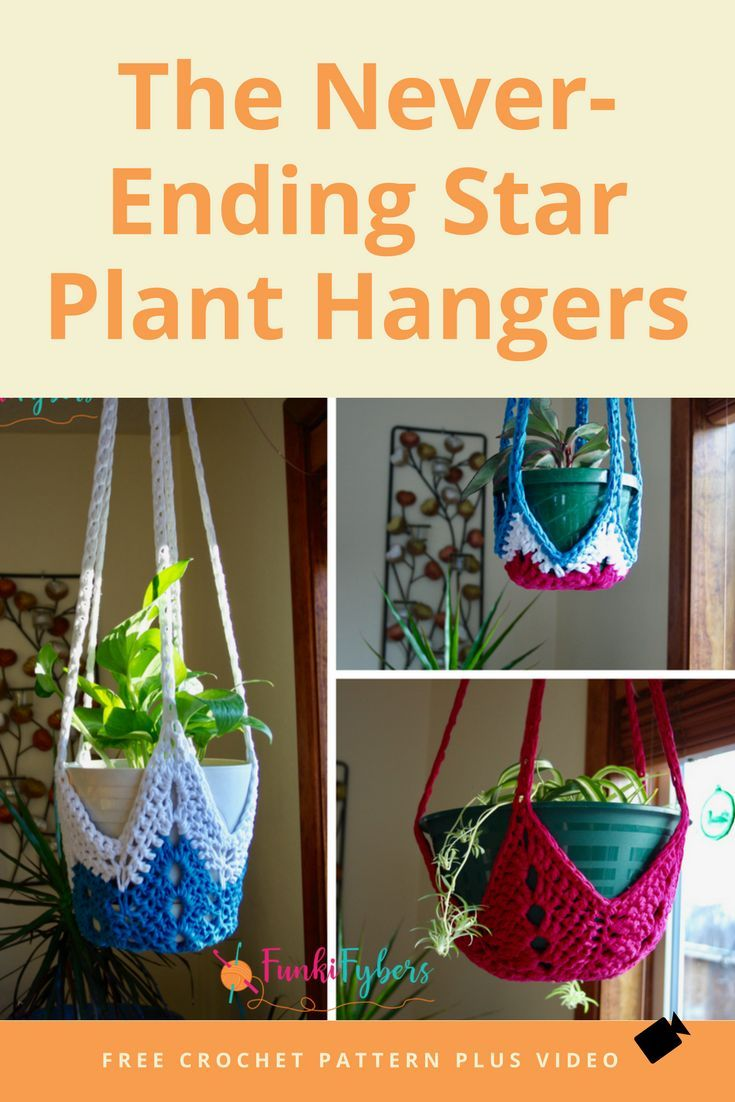 Crochet these plant hangers, using an easy star pattern, t-shirt ...